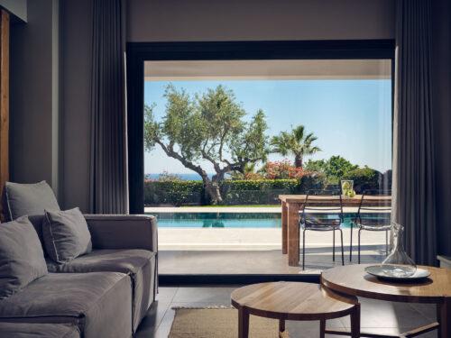 sea view living room in Zakynthos island best villa rental