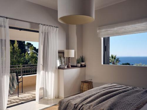 Greek villa bedroom with sea view at cielo villas located in Zakynthos