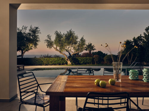 Sea view dining area in villa Athina located in Zakynthos